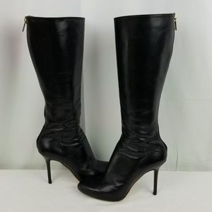Jimmy Choo Leather Knee High Stiletto Heels Boots